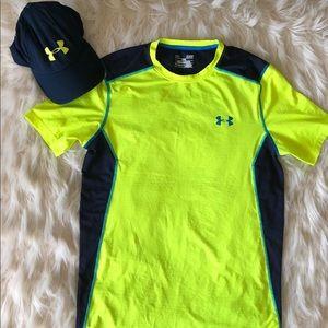 Men's Under Armour workout shirt S + hat 🧢